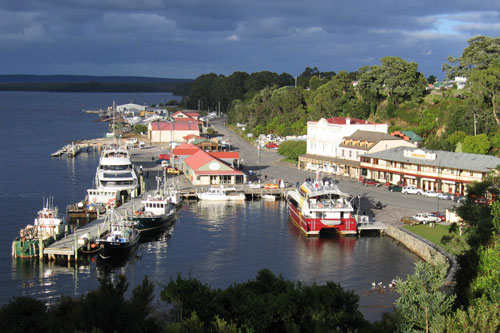 Strahan Harbour Tasmania - Gordon River cruises leave from here